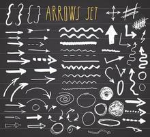 setas, divisores e fronteiras, elementos desenhados à mão conjunto ilustração vetorial no fundo do quadro-negro. vetor