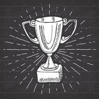 rótulo vintage, troféu de esporte de mão desenhada, prêmio de vencedores, distintivo retrô texturizado grunge, impressão de t-shirt de design de tipografia, ilustração vetorial no fundo do quadro-negro. vetor