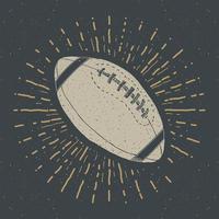 futebol, rótulo vintage de bola de rugby, esboço desenhado à mão, emblema retro texturizado grunge, impressão de t-shirt com design de tipografia, ilustração vetorial vetor