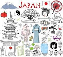 japão doodles elementos. esboço desenhado mão conjunto com montanha fujiyama, portão de Shinto, sushi de comida japonesa e jogo de chá, ventilador, máscaras de teatro, katana, pagode, quimono. coleção de desenho, isolada no branco vetor