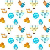 feliz hanukkah vetor padrão sem emenda, com jogo de dreidel, moedas, mão de miriam, palma de david, estrela de david, menorá, comida tradicional, torá e outros itens tradicionais