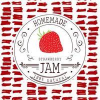 modelo de design de etiqueta de atolamento. para produto de sobremesa de morango com fundo e frutas esboçadas de mão desenhada. identidade da marca do doodle vector morango ilustração