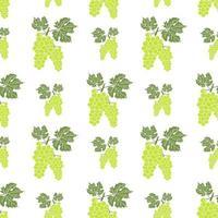 frutas fundo padrão sem emenda com desenho de mão desenhada ilustração em vetor uva verde