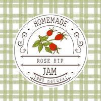 modelo de design de etiqueta de atolamento. para produto de sobremesa de Rosa Mosqueta com fundo e frutas esboçadas de mão desenhada. ilustração de quadril rosa vector doodle identidade de marca