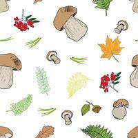 cogumelo mão desenhada esboço sem costura padrão. ilustração vetorial vetor