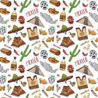 elementos de doodle de padrão sem emenda do México, esboço desenhado de mão chapéu sombrero tradicional mexicano, botas, poncho, garrafa de cacto e tequila, mapa do México, burrito, crânio. ilustração vetorial fundo vetor