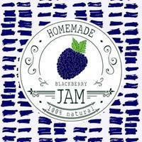 modelo de design de etiqueta de atolamento. para produto de sobremesa de blackberry com fundo e frutas esboçadas de mão desenhada. identidade da marca ilustração do doodle do vetor do blackberry