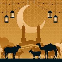 animais parados na frente de Kaaba vetor