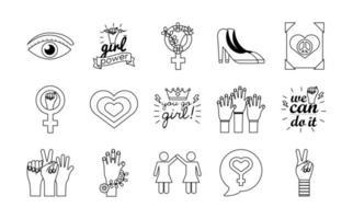 pacote de quinze ícones de estilo de linha do feminismo vetor