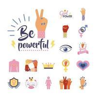 conjunto de ícones de estilo simples do feminismo em fundo roxo vetor