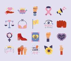pacote de vinte ícones de estilo simples do feminismo vetor