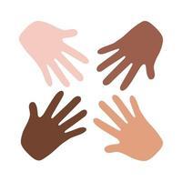 ícone de estilo simples de trabalho em equipe de mãos inter-raciais vetor