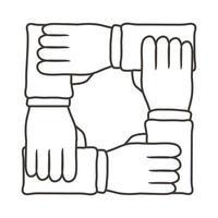 ícone de estilo de linha de trabalho em equipe de mãos inter-raciais vetor