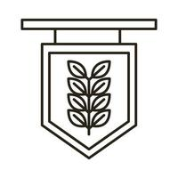 etiqueta com ícone de estilo de linha oktoberfest de ramo de cevada vetor