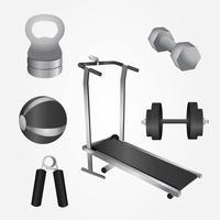 pacote de vetor de equipamento de fitness realista