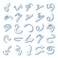 Conjunto de setas de vetor 3D mão desenhada