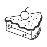 bolo doce mão desenhar e ícone de estilo de linha desenho vetorial vetor