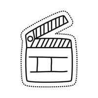 ícone de estilo de linha de adesivo de claquete vetor