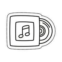 ícone de estilo de linha de adesivo de disco compacto de música vetor
