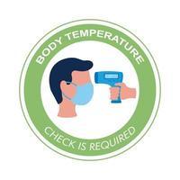 verificação de temperatura corporal, rotulação, carimbo circular da campanha vetor