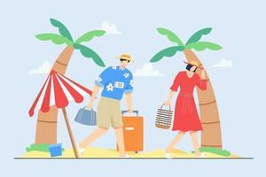 férias de verão com a família na cena de ilustração vetorial de praia vetor