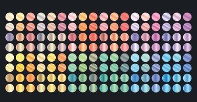 grande conjunto de gradientes metálicos vetor de conjunto de metal grande de cores diferentes