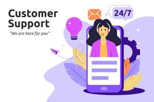 Cliente e operador, conceito de suporte técnico on-line. Fêmea vetor
