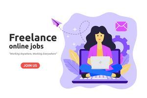 Conceito de design de emprego on-line freelance. Freelancer desenvolve busines vetor