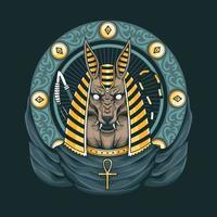 obras de arte dos deuses egípcios de anúbis vetor