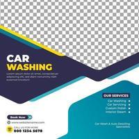 postagem na mídia social sobre lavagem de carros vetor
