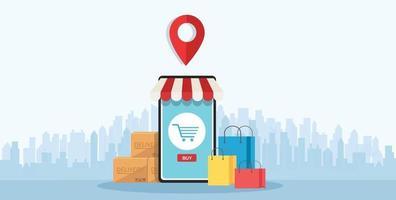 compras online no aplicativo e conceito móvel marketing digital online vetor