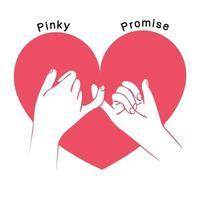 promessa de sinal de mão com vetor de formato de coração