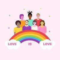 jovens felizes com arco-íris lgbtq vetor