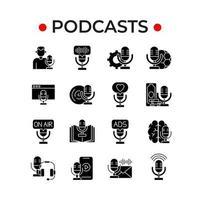 conjunto de ícones de glifo de podcast vetor