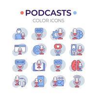 conjunto de ícones de cores rgb de podcast vetor