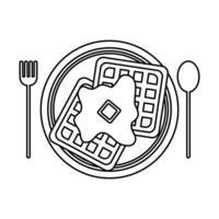 desenho de vetor de waffle de café da manhã isolado