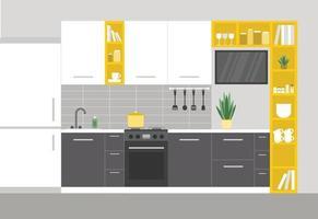 interior moderno da cozinha com eletrodomésticos vetor