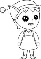 página para colorir de elf kids excelente para livro de colorir iniciante vetor