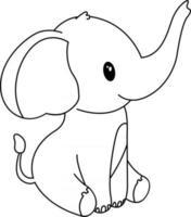 elefante crianças para colorir, ótimo para livro de colorir iniciante vetor