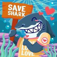 proteja tubarão com amor e paz vetor