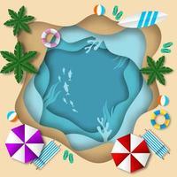 verão praia papel arte fundo vetor