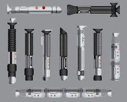 conjunto de alças de espadas de luz. arma futurística de ficção científica corpo a corpo, instrumentos de luta cósmica de néon brilhante, ilustração vetorial vetor