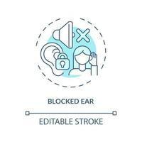 ícone do conceito de ouvido bloqueado vetor