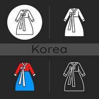 ícone de tema escuro hanbok vetor