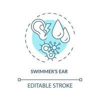 ícone do conceito de orelha de nadador vetor
