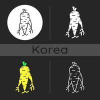 ícone de tema escuro de raiz de ginseng coreano vetor