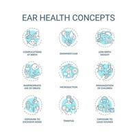 conjunto de ícones de conceito de saúde auditiva vetor