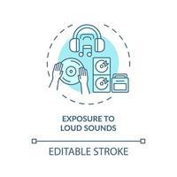 exposição ao ícone do conceito de sons altos vetor