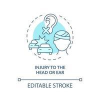 ferimento na cabeça e ícone do conceito de orelha vetor