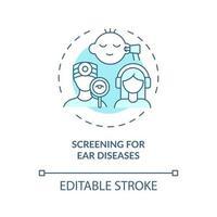 rastreio de ícone do conceito de doenças do ouvido vetor